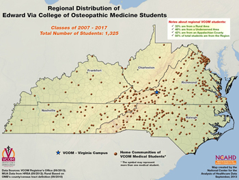Regional Distribution of Edward Via College of Osteopathic Medicine Students