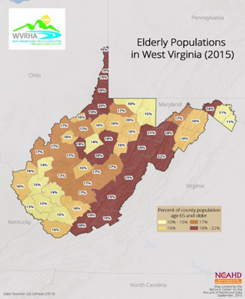 Elderly Populations in West Virginia (2015)