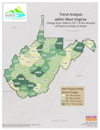 Trend Analysis within West Virginia: Change from 2004 to 2011 in the Amount of Physical Activity in the Amount of Physical Activity in Adults