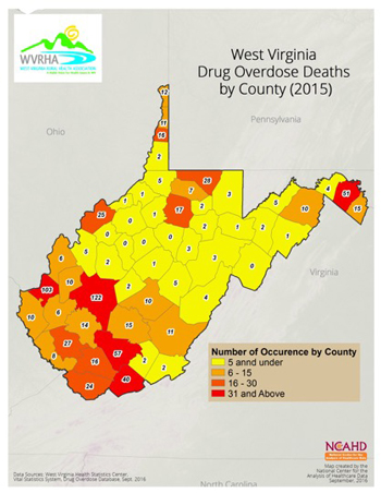 West Virginia Drug Overdose Deaths by County (2015)