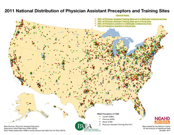 2011 National Distribution of Physician Assistant Preceptors and Training Sites