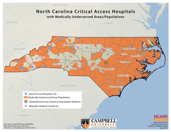 North Carolina Critical Access Hospitals with Medically Underserved Areas/Populations