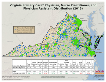 Virginia Primary Care Physician, Nurse Practitioner, and Physician Assistant Distribution (2013)