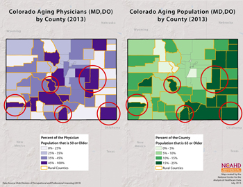 Colorado Aging Physicians (MD, DO) and Population by County (2013)