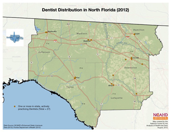 Dentist Distribution in North Florida (2012)
