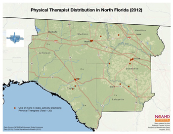 Physical Therapist Distribution in North Florida (2012)