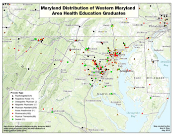 Maryland Distribution of Western Maryland Area Health Education Graduates